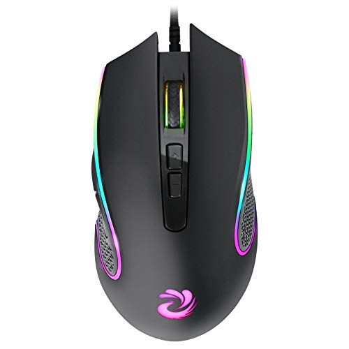 Wired Mouse, RGB Optical Computer Mouse, USB Computer Mouse Wired with 7 Buttons, 7200 DPI Adjustable Office and Home Wired...