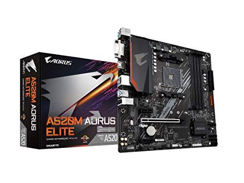 Gigabyte A520M AORUS Elite (AMD Ryzen AM4/MicroATX/5+3 Phases Digital PWM/Gaming GbE LAN/NVMe PCIe 3.0 x4 M.2/2 Display...