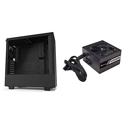 NZXT H510 - CA-H510B-B1 - Compact ATX Mid-Tower PC Gaming Case - Black & Corsair CX Series 650 Watt 80 Plus Bronze Certified...