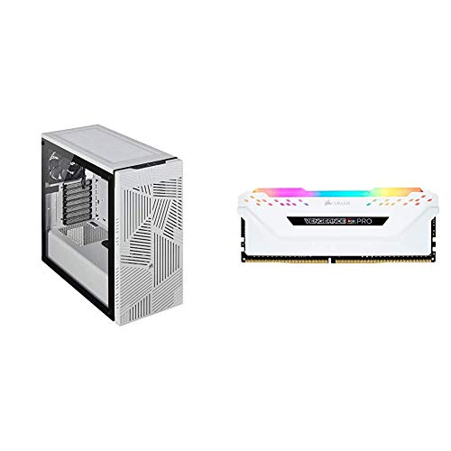 Corsair 275R Airflow Tempered Glass Mid-Tower Gaming Case - White & Vengeance RGB Pro 16GB (2x8GB) DDR4 3200MHz C16 LED...