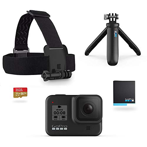 GoPro HERO8 Black Retail Bundle - Includes HERO8 Black Camera Plus Shorty, Head Strap, 32GB SD Card, and 2 Rechargeable...
