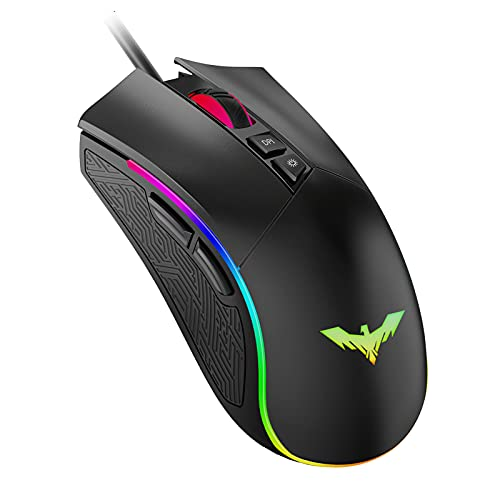 Havit RGB Gaming Mouse Wired Programmable Ergonomic USB Mice 4800 Dots Per Inch 7 Buttons & 7 Color Backlit for Laptop PC...