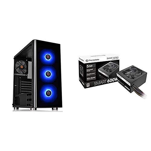 Thermaltake V200 Tempered Glass RGB Edition 12V MB Sync Capable ATX Mid-Tower Chassis & Smart 600W ATX 12V V2.3/EPS 12V 80...
