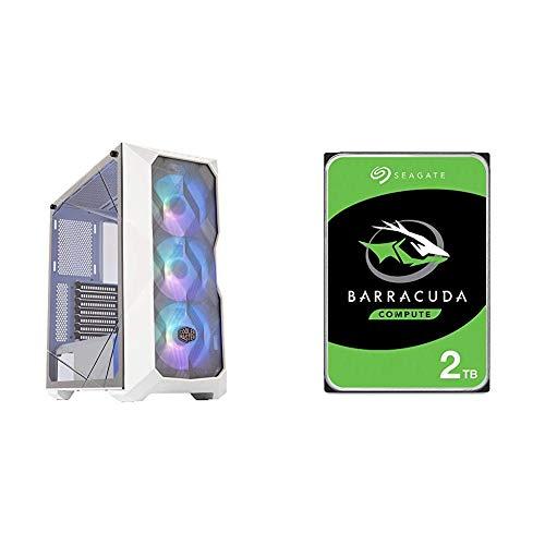 Cooler Master MasterBox TD500 Mesh White Airflow ATX Mid-Tower & Seagate Barracuda 2TB Internal Hard Drive HDD – 3.5 Inch...