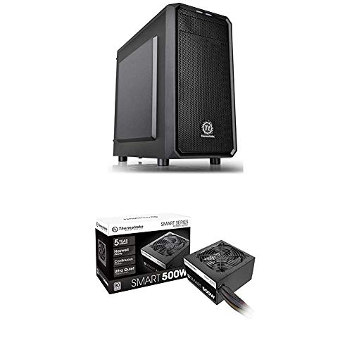 Thermaltake Versa H15 Micro ATX Mini Tower Computer Chassis and Smart 500W 80+ White Certified PSU, Continuous Power with...