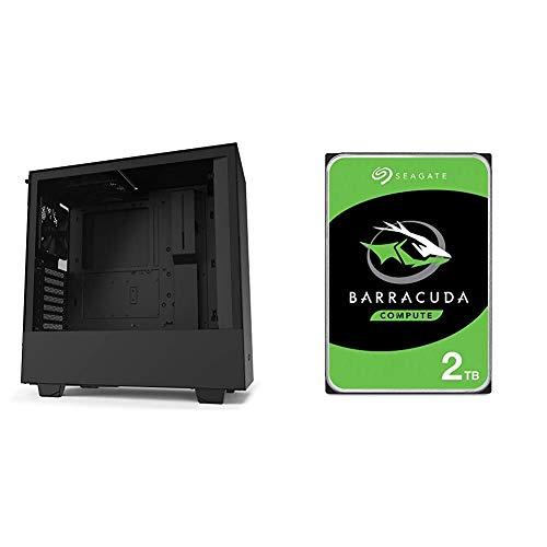 NZXT H510 - CA-H510B-B1 - Compact ATX Mid-Tower PC Gaming Case - Black & Seagate Barracuda 2TB Internal Hard Drive HDD –...