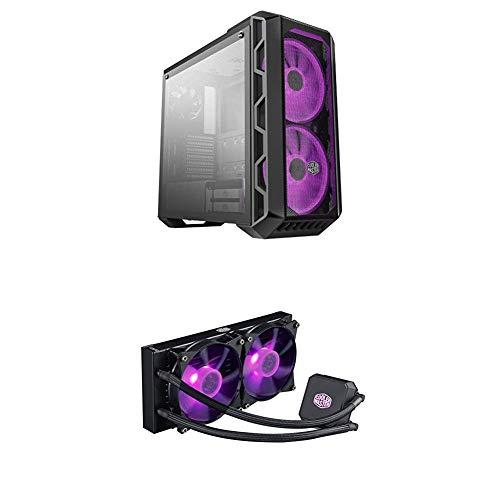 Cooler Master MasterCase H500 ATX Mid-Tower w/Tempered Glass Side Paneland MasterLiquid LC240E RGB Close-Loop AIO CPU Liquid...