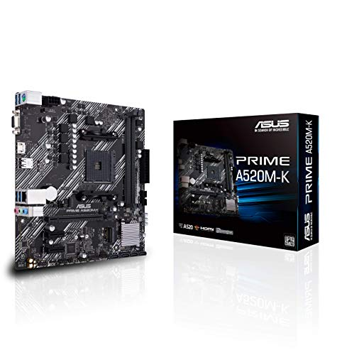 ASUS PRIME A520M-K AMD AM4 (3rd Gen Ryzen) Micro-ATX motherboard (ECC memory, M.2 support, 1Gb Ethernet, M.2, USB 3.2 Gen 1...
