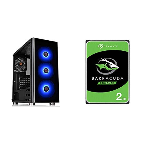 Thermaltake V200 Tempered Glass RGB Edition 12V MB Sync Capable ATX Mid-Tower Chassis & Seagate Barracuda 2TB Internal Hard...