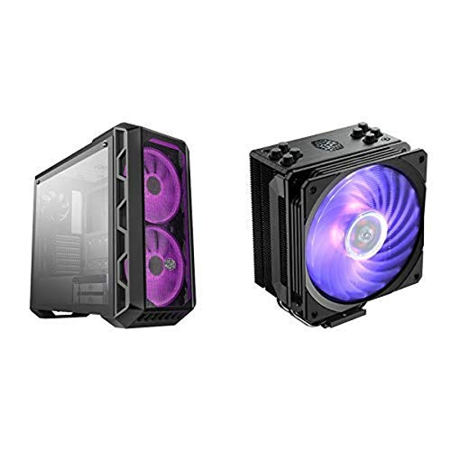 Cooler Master MasterCase w/Tempered Glass Side Panel, Carrying Handle RGB Fans w/RGB Controller and Hyper 212 RGB Black...