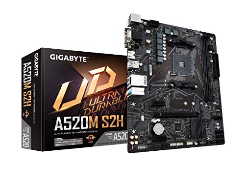 Gigabyte A520M S2H (AMD Ryzen AM4/MicroATX/4+3 Phases Digital PWM/Gigabyte Gaming GbE LAN/NVMe PCIe 3.0 x4 M.2/3 Display...