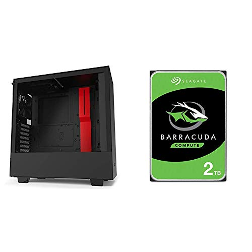 NZXT H510 - CA-H510B-BR - Compact ATX Mid-Tower PC Gaming Case - Black/Red & Seagate Barracuda 2TB Internal Hard Drive HDD...