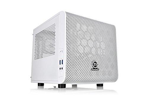 Thermaltake Core V1 Snow Edition SPCC Mini ITX Cube Computer Chassis CA-1B8-00S6WN-01, White