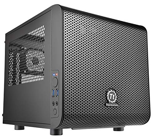 Thermaltake Core V1 SPCC Mini ITX Cube Gaming Computer Case Chassis, Interchangeable Side Panels, Black Edition,...